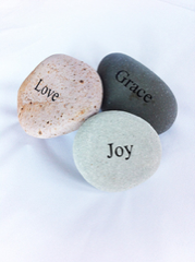 Natural Pebble with Inspirational Engraving