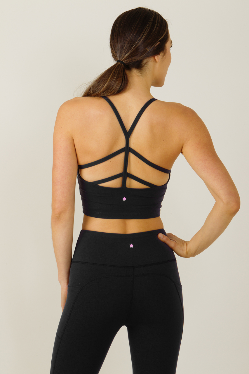 Warrior Y-Back Crop Top in Black