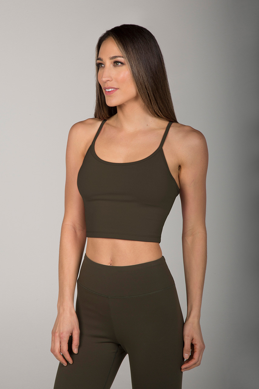 Grace En Pointe Yoga Crop Top - Forest Night