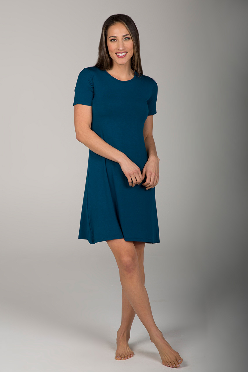 T-Shirt Yoga Dress - Moroccan Blue