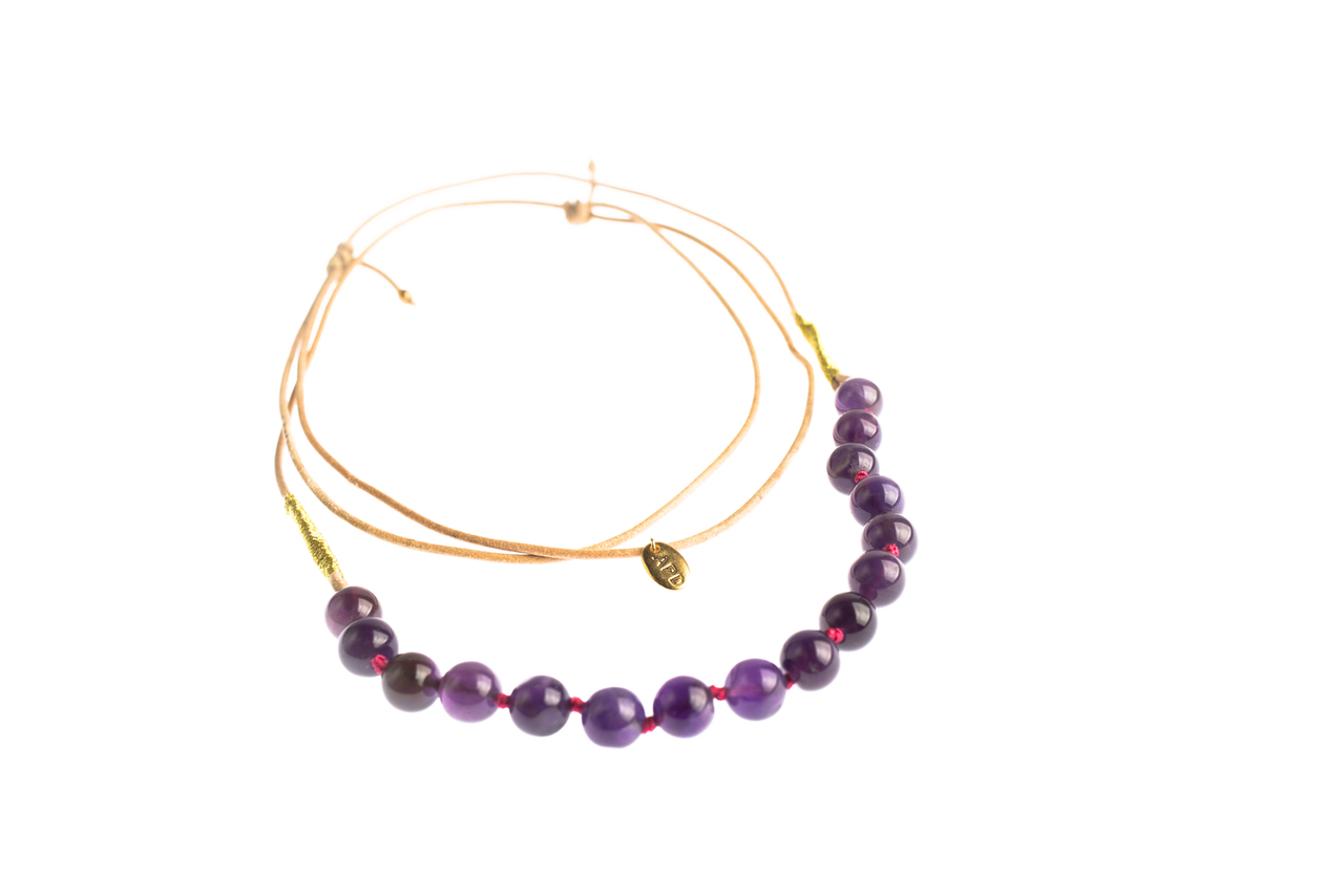 Asha Patel's Amethyst Leather Necklace