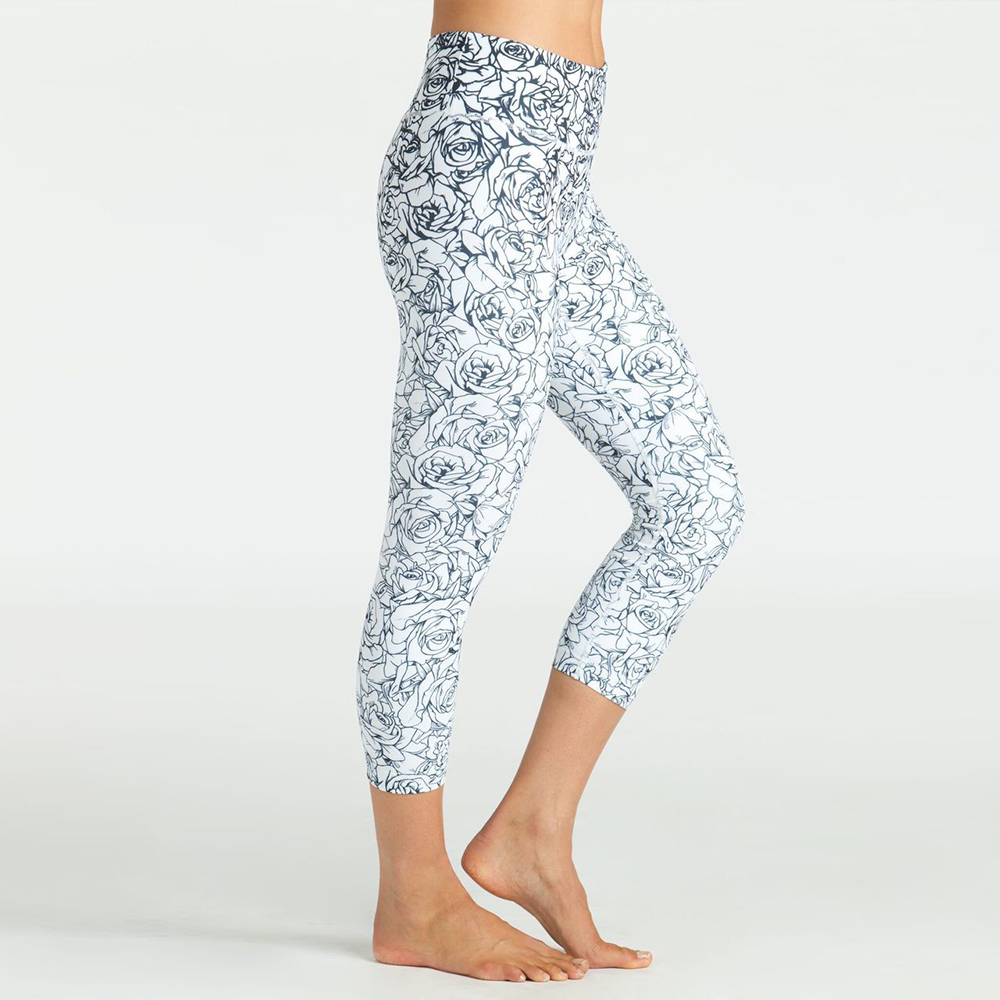 Grace High-Waisted Yoga Capri (Etched Floral Print)