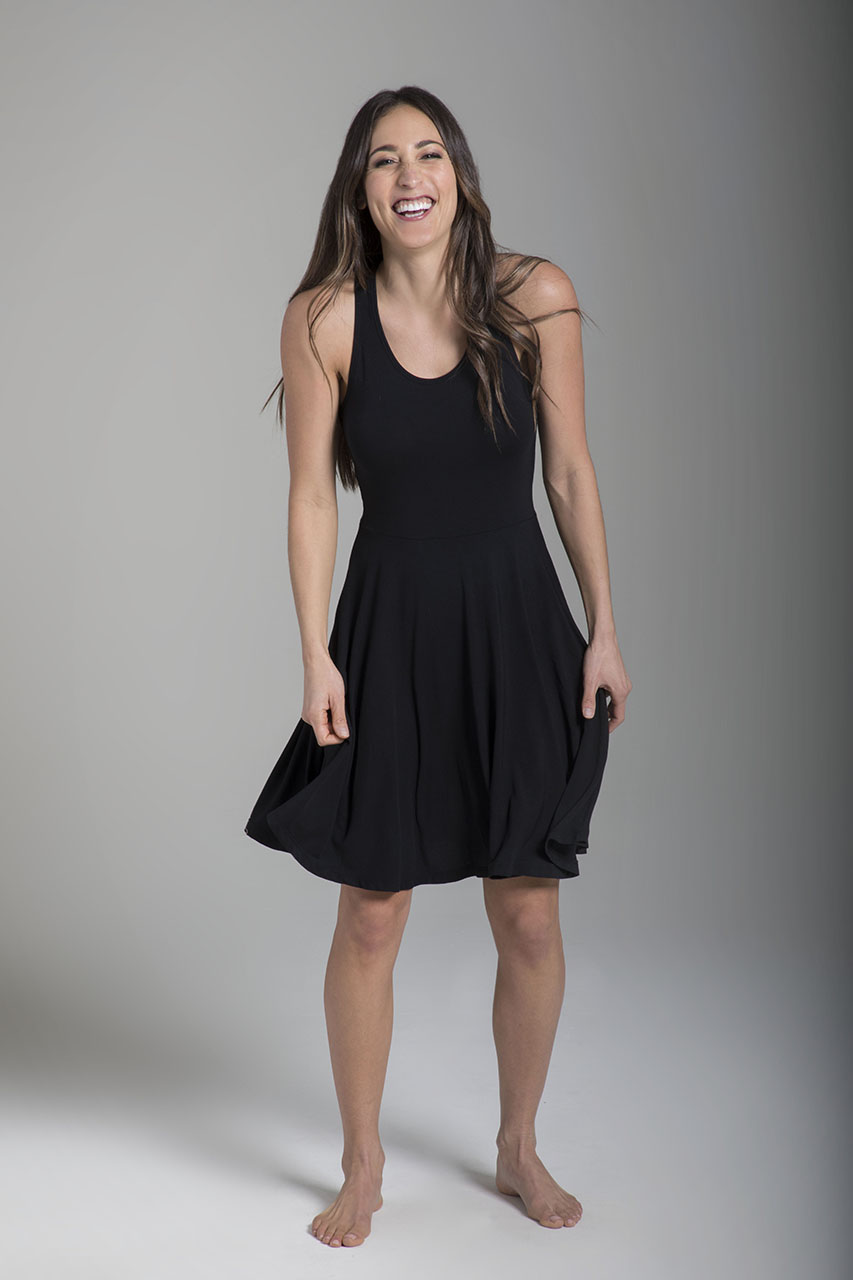 Fit & Flare Yoga Dress - Black