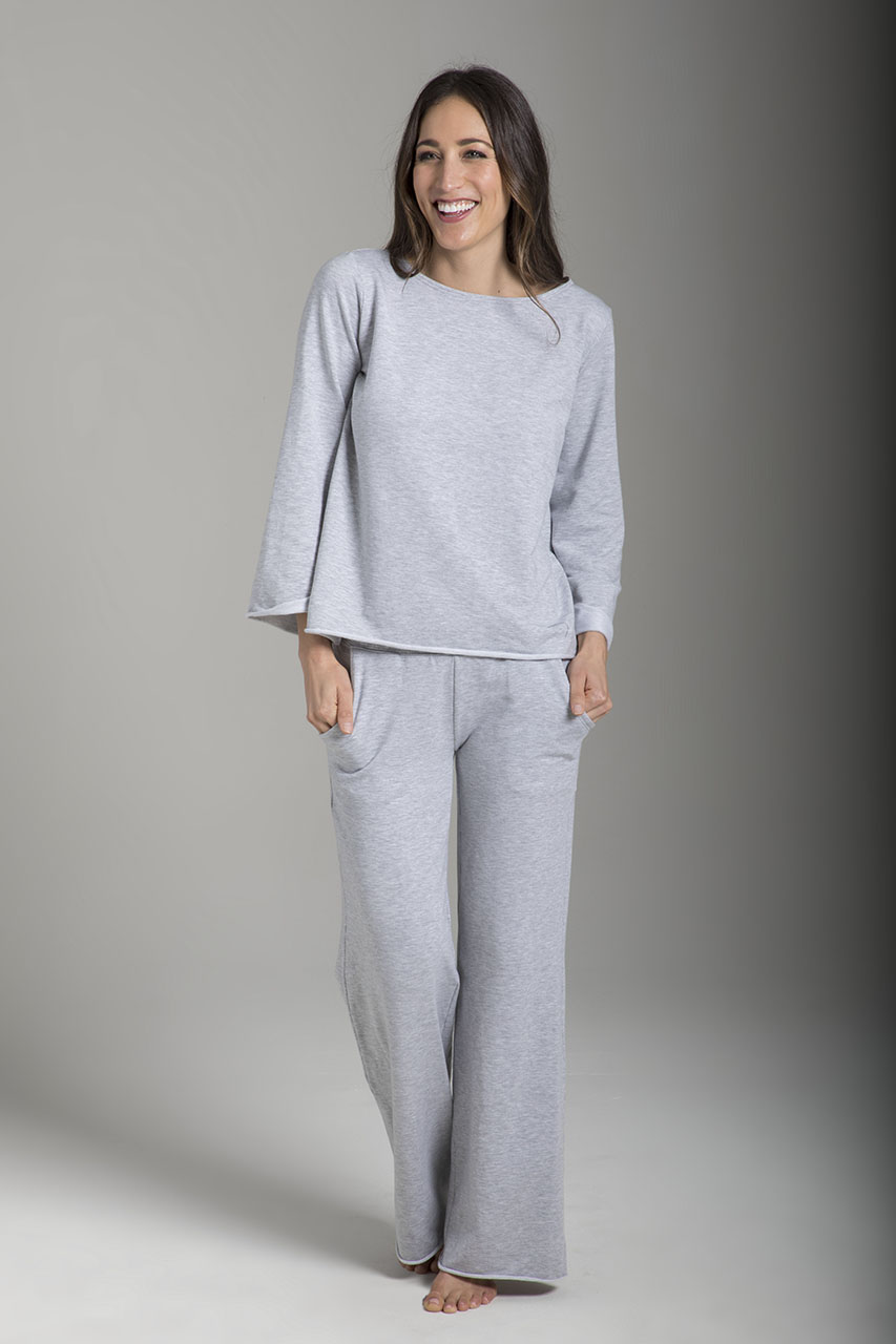 Wide-Leg Terry Yoga Sweatpant (Heather Grey)