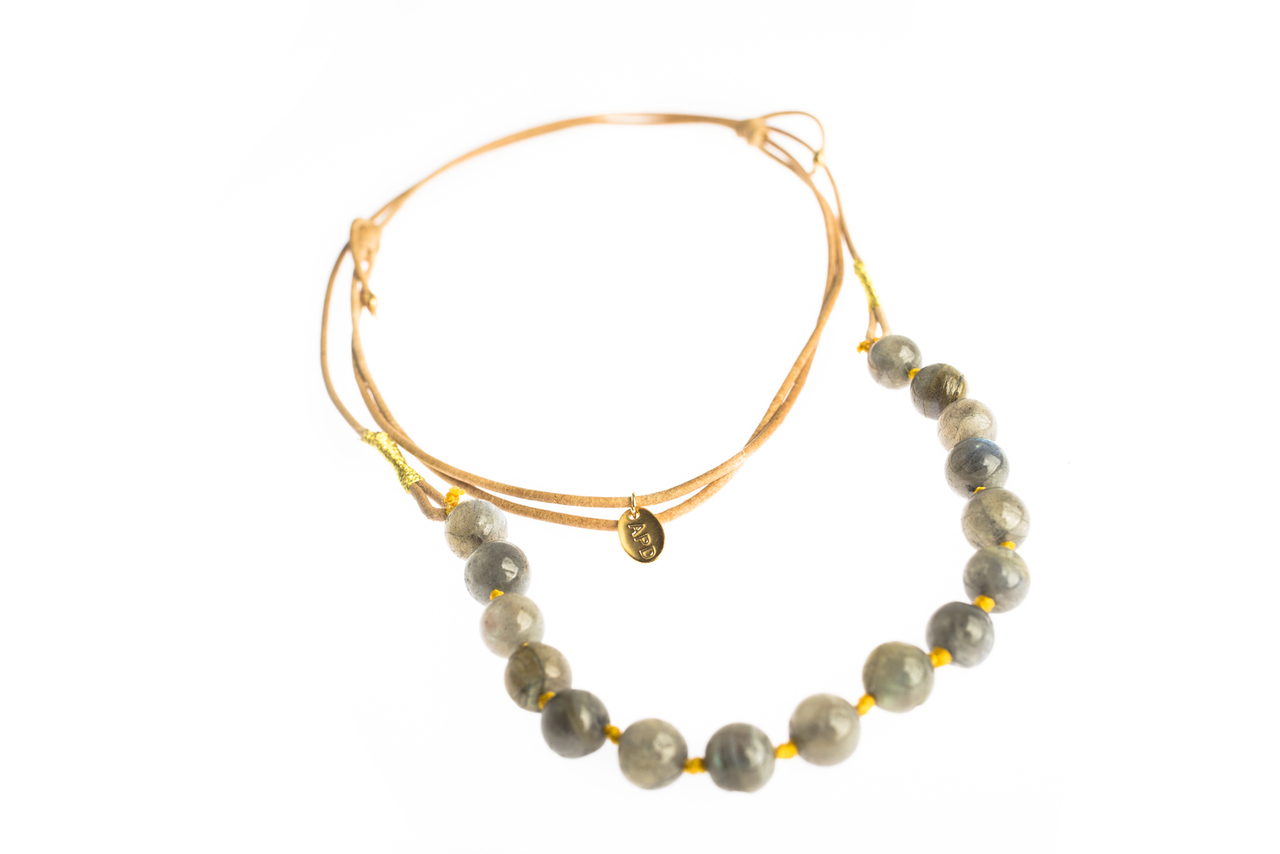 Asha Patel's Labradorite Leather Necklace